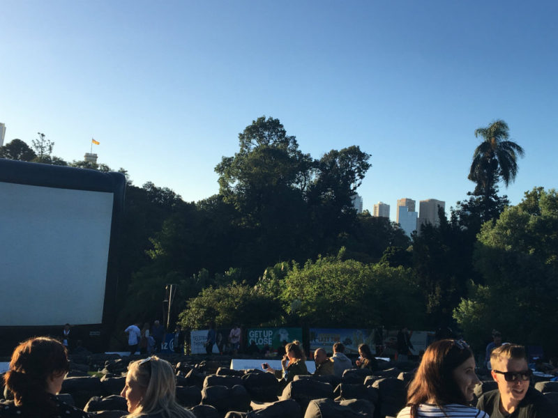 moonlight cinema melbourne - lion - beautiful park and garden with a view of the city