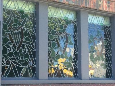 stained glass, collingwood, light art, flower art