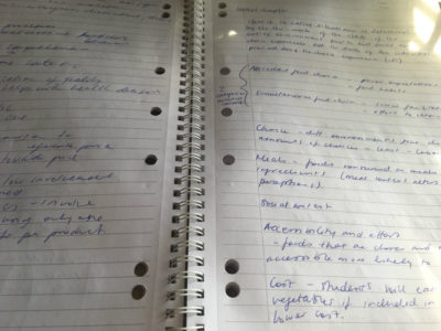 written notes on an assignment - food choice