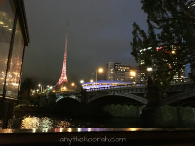 pretty lights and bridge and arts centre spire