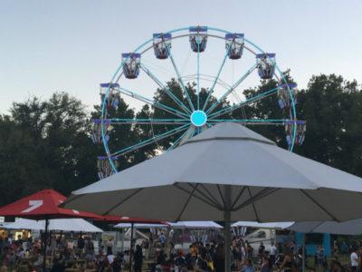 ferris wheel lights, umbrellas and crowd of people - moomba festival