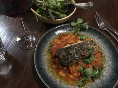 barramundi fillet with cannelini beans and tomato sauce - so good - bon ap - fiztroy
