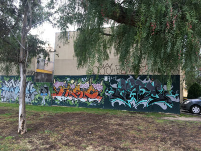 graffiti in lots of variety of colours on walls in collingwood - with tree branches and leaves in the foreground