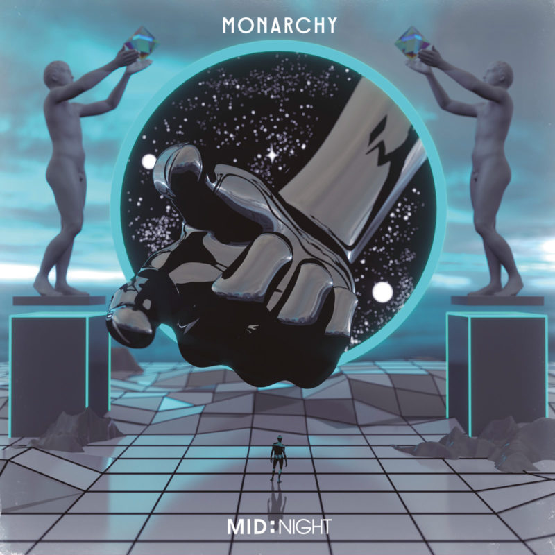 Monarchy mid:night - blue background with pedestals, two figures holding spheres above a finger pointing and a small figure below in blue and grey